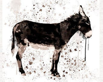 Donkey, Dark watercolour Donkey now a fabric panel | Upholstery | Sewing | Craft | Printed Fabric Panels