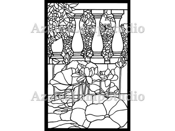 Window Insert Idea, Stained Glass Patterns, Lilypad SVG, Art Nouveau Print, Coloring Pages, Pattern Svg, Pattern Print, Tree Print
