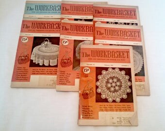 Vintage Craft Magazines, 1953 Workbasket Magazine Lot, 7 Issues, Mid Century Needlework Patterns