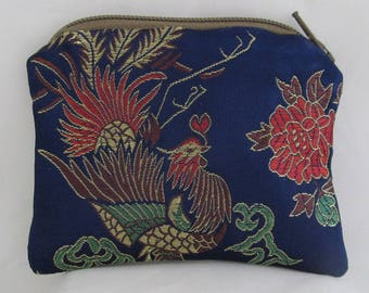 Small Blue and Gold Chinese Print Brocade and Satin Coinpurse Coin Purse Pendulum Crystals Zipper Bag Pouch Fancy