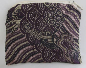 Small Burgundy, Lavender and Gold Print Brocade and Satin Coinpurse Coin Purse Pendulum Crystals Zipper Bag Pouch Fancy