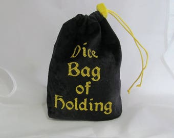 Dice Bag Pouch Velvet Dungeons and Dragons D&D RPG Role Playing Die Black Dice Bag of Holding Reversible Lined