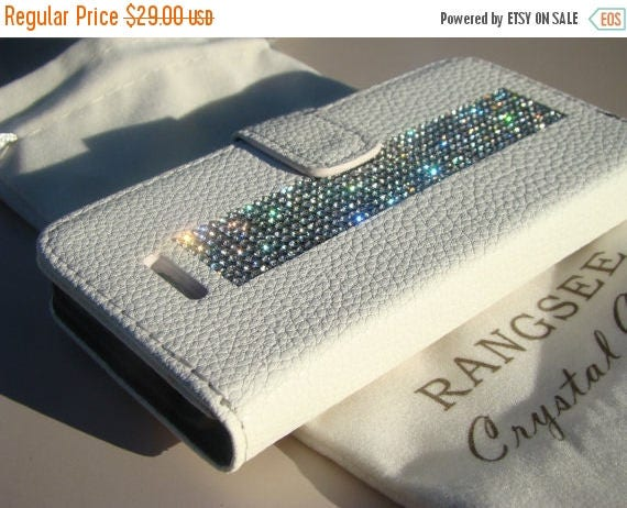 Sale iPhone SE Case /5/ 5s Clear Rhinestone Crystals on White Wallet Case. Velvet/Silk Pouch bag Included, Genuine Rangsee Crystal Cases.