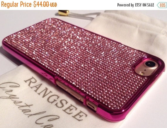 Sale iPhone 7 Case Pink Rhinstone Crystals on iPhone 7 Pink Chrome Case. Velvet/Silk Pouch Included, Genuine Rangsee Crystal Cases.