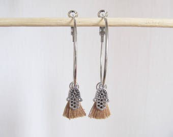 Hamsa earrings, yoga earrings, creole earrings
