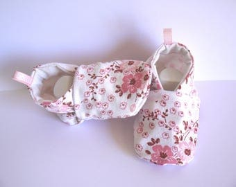 Cotton 3/6 months baby shoes fabric booties pink liberty flowers