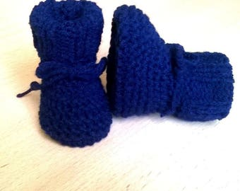 0/3 months BOOTIES Navy baby baby shoes Handmade wool knitted baby girl boy