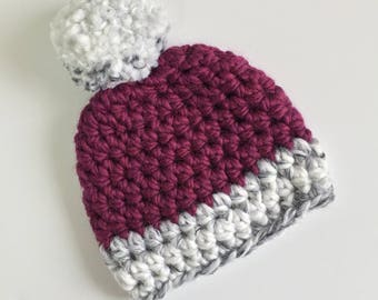 Frosted Berry Beanie, Ready to Ship, Crochet Hat Baby, Baby Girl Hat, Baby Pompom Hat, Crochet Beanie