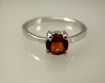 Madeira Citrine Sterling Silver Ring, Rhodium Plated, Natural Madeira Citrine, Hammered Bansd, November Birthstone