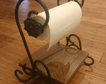 Handcrafted Wrought Iron Paper Towel Holder with Shelf