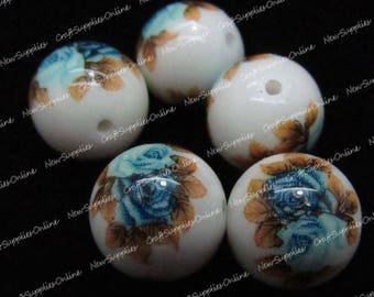 Tensha bead pink blue 12mm