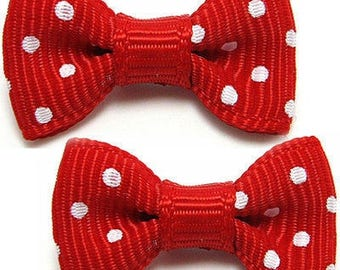 1 x red stream white dot bow