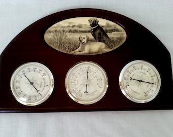Vintage Wooden Springfield Mid Century Weather Station Thermometer Barometer Hygrometer Black& White Bart De Ciglie Artwork Print w/Dogs