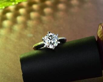 Genevieve 3CT Round Cut IOBI Cultured Diamond Solitaire Ring