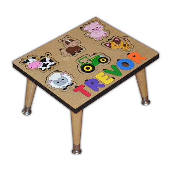 Farm Animals Name Puzzle Stool Personalized With Your Childs