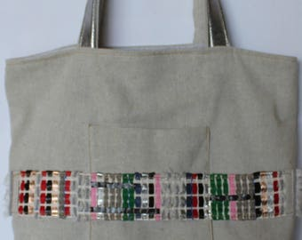 Organic cotton and leather tote bag