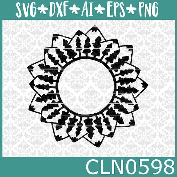 CLN0598 Mountain Tree Mandala Adventure Monogram Outdoors SVG DXF Ai Eps PNG Vector Instant Download Commercial Cut File Cricut SIlhouette