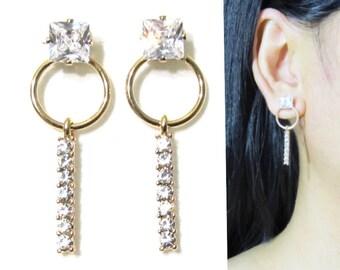 Princess Cut Crystal Clip-On Earrings |29E| Dangle Clip on Earring Rhinestone Clip on earrings Gold Wedding Clip-ons Bridal Clip Earrings