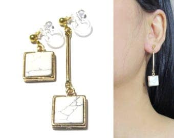 White Marble Faux Stone Dangle Clip On Earrings  33b  Geometric Gold Invisible Clip-ons Earring, Square Unmatched Bar Long Clip Earrings