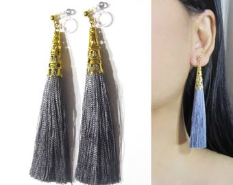 Dark Charcoal Gray Tassel Clip-On Earrings |35D| Gold Filigree Clip-ons, Dangle Long Clip Earrings, Invisible Non Pierced Clip Earrings