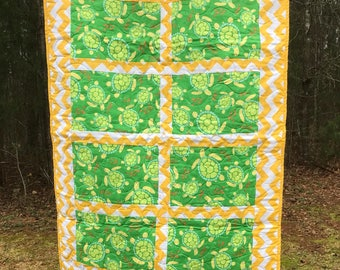 Yellow and green sea turtle quilt