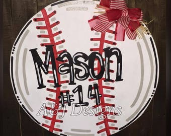 Door Hanger - Wood Cut Out - Baseball/Softball. This adorable Baseball/Softball can be changed to better meet your style!