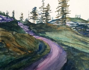 North Cascades, Pacific Northwest, Pine tree painting, mountain trail, Northwest landscape, mountain watercolor, Fir trees, Tree painting