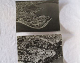 Two aerial black and white photos of Ioannina city in Greece. 1950's. Vintage aerial photo, Greek aerial photo, black and white aerial photo