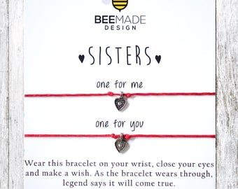 Fairytale Gift SISTERS Bracelet Sister Wish Bracelet for 2 Sister Card matching bracelet Christmas Gift for Sister stocking stuffer sister