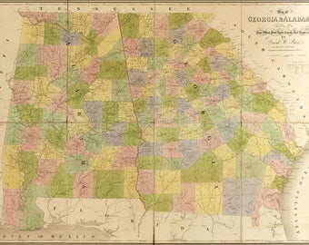 Poster, Many Sizes Available; Map Of Georgia, Alabama 1839