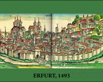 Poster, Many Sizes Available; Erfurt Germany  1493 Woodcut From The Nuremberg Chronicle Erfurt 1493