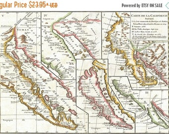 40% OFF SALE Poster, Many Sizes Available; 1772 Vaugondy - Diderot Map Of California In Five States, California As Island P2