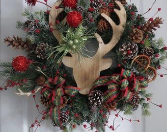 Beautiful Deer head Christmas wreath, rustic wreath, cottage wreath, buffalo plaid, Front door wreath, Pine wreath