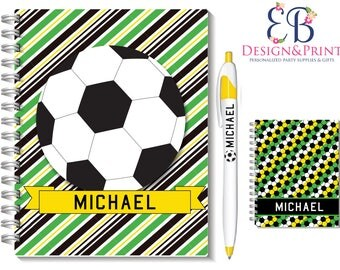Beautiful Boy's Soccer Ball Sport  Hard Cover Note book Notebook Journal Or  Pen -  Unique Party Favors Gifts