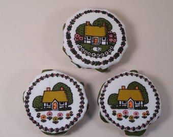 Set of Jam Pot or Jar Covers made in England Homespun Charm by Cuckoobird