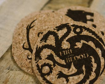 Game of Thrones Coasters Laser Etched Home Gift Decor House Sigil Cork Coasters Set of 4