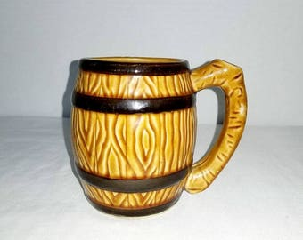 Vintage Barrel Mug,Pottery Mug,Brownware,Earthenware,Brown Tankard,Made in Japan,BEER MUG,Gifts for HIM,Vintage Pottery,Rustic,1960s