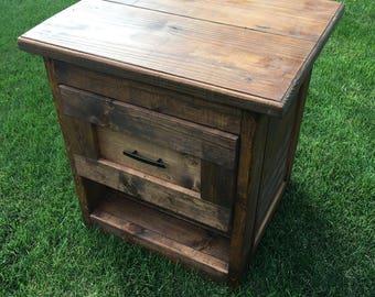 Rustic filing cabinet with shelf