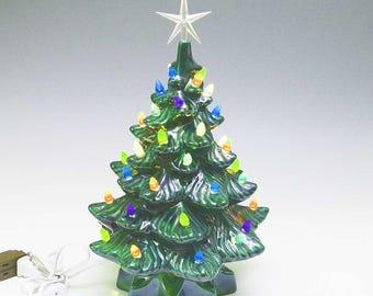 New Medium Lighted Ceramic Christmas Tree