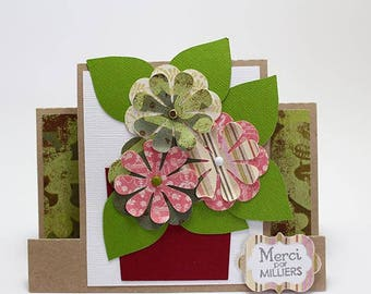 Thank you easel card decorated with a flower pot