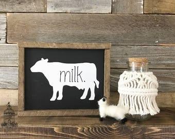 "Farmhouse Cow Sign, Farmhouse Decor, Farm Decor, Cow Sign, Milk Sign, Cow Milk Sign (8"" x 6.5"")"