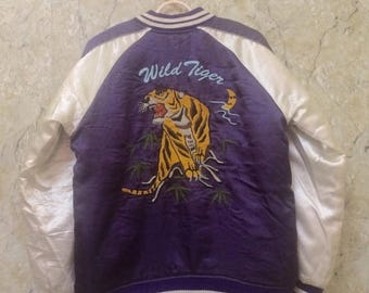 Birthday Sale Vintage Embroidered Japanese Souvenirs Sukajan Varsity Jacket, Yakuza, Hip Hop Wild Tiger Roar Size S Rare