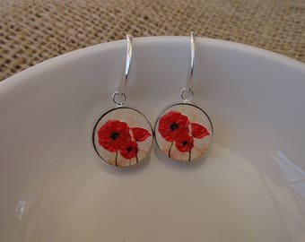 Poppies 3D on Wood in Round Dangle Hook Earrings, Silver Setting
