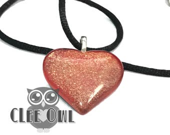 Peach and Gold Glitter Glass Heart Pendant Necklace on Black Silk Cord Handmade