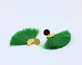 Green Fringe Fan Tassel Earrings with Handmade Tassels, Handmade Jewelry by Detail London.