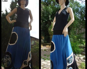 Harem pants cotton ecru blue patterned