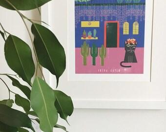 Frida Kahlo Cat House Print