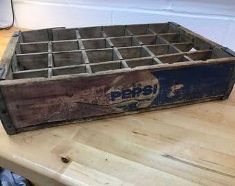 Wooden vintage Pepsi crate display shadow box