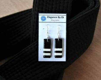 Second Degree Black Belt Earrings with White stripes and Sterling Silver french earring wires! Celebrate your rank!