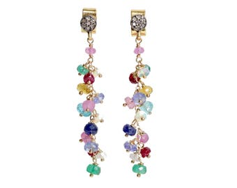 Multi Gemstone Earrings Long Colorful Drippy Earring Genuine Pave DIAMOND post Earring Precious Gemstone Earrings Gift for Her mixed metal